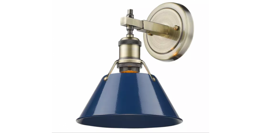 Orwell Collection sconce,blue shade Golden Lighting Products