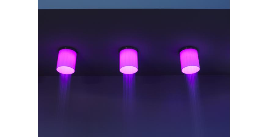 Purple showerhead with embedded red LED light from Antonio Lupi
