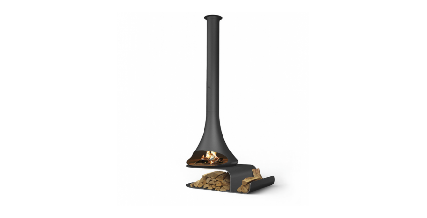 Trofoart Fires  Doria is a suspended fireplace with an optional rotating system.