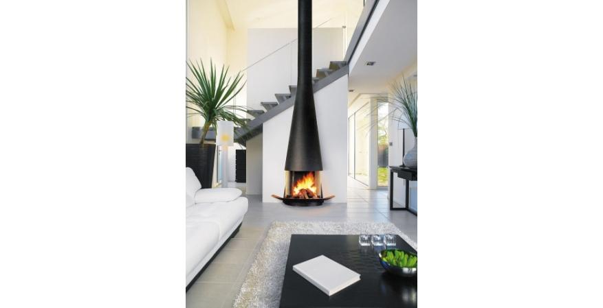 Focus Fireplaces  The Heterofocus is custom made in France from raw steel and has visible welded seams. The wood-burning product measures about 55 inches wide.