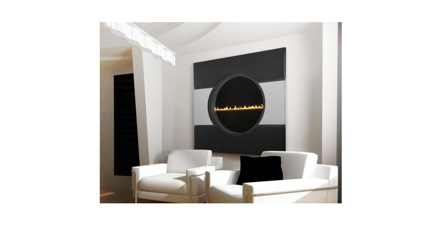 Heat & Glo  Solaris is the world's slimmest see-through fireplace. Measuring 32 inches in diameter, the 4-inch-thick unit gives a 6-foot-deep illusion of flame and lighting effects.