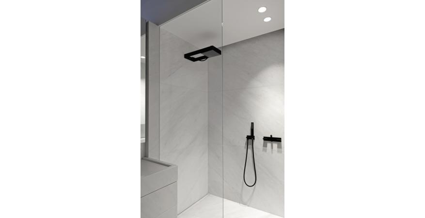 Concealed bath and shower mixer in matte black