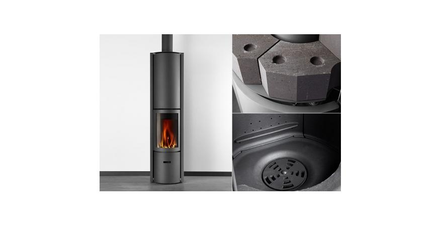 Stuv  This sleek and simple wood burning stove provides a full view of the fire and can be fitted with an accumulator unit that stores heat and dissipates it for several hours after the fire has died.