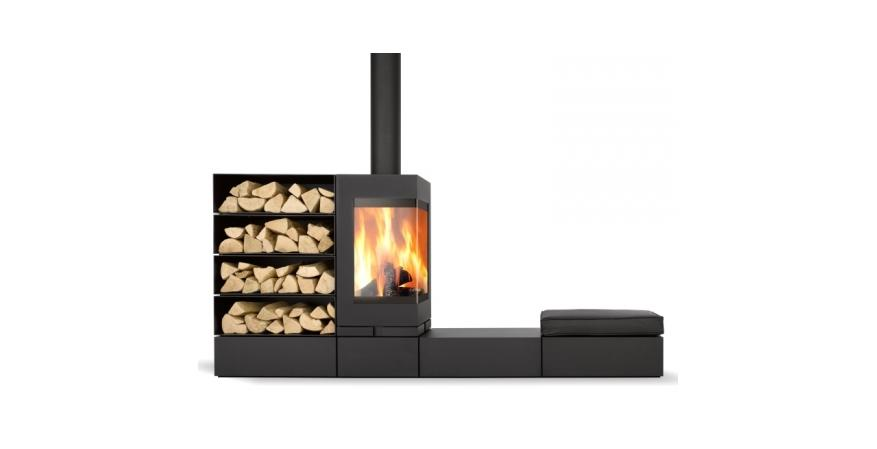 Skantherm  Elements is a modular wood-burning fireplace system consisting of three sections that can be arranged in any kind of combination.