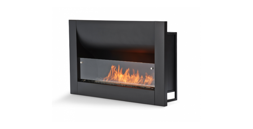 EcoSmart Fire  Part of the company's Brown Jordan Fires collection, the Evolution built-in firebox has a curved back that radiates out to the room.