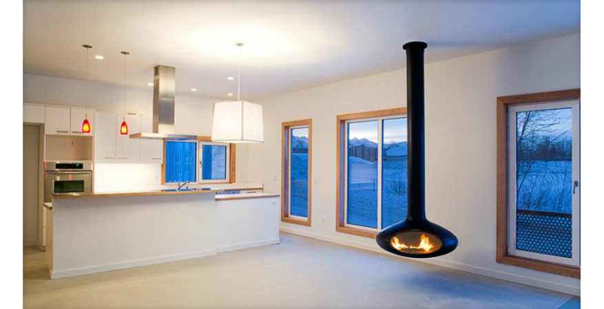 Fireorb  This suspended wood-burning fireplace allows for 360-degree rotation. Made from 10-gauge steel and featuring a black powder finish, it also comes in stainless steel and various sizes.