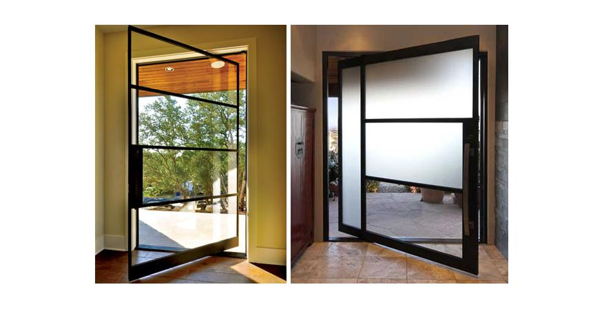 The pivot door by Portella Iron Doors.