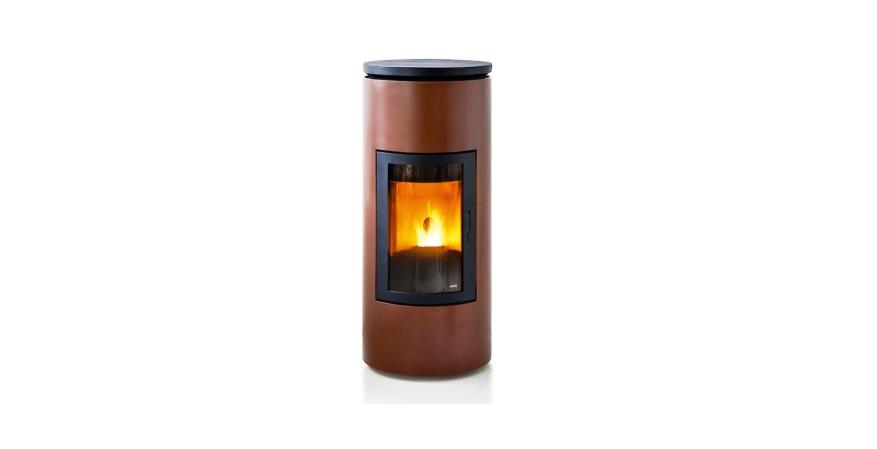 MCZ Group  The Tube is a round pellet stove with a black-painted aluminum top and bronze, silver, and black steel sides.