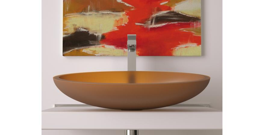 Glass Design bath sink in cognac
