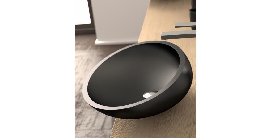 Glass Design bath sink in Kook Nero