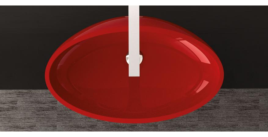 Glass Design bath sink in red top view