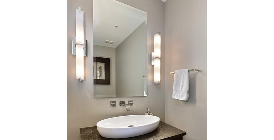 Bathroom idea tip: Place bath lights at face level and preferably on both sides of the mirror
