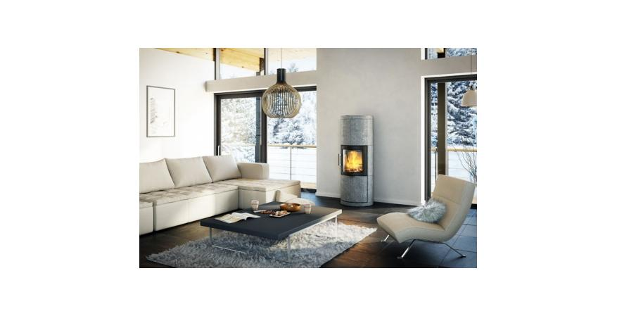 HWAM  The 7150c is part of a series of heat-storing stoves clad with soapstone.
