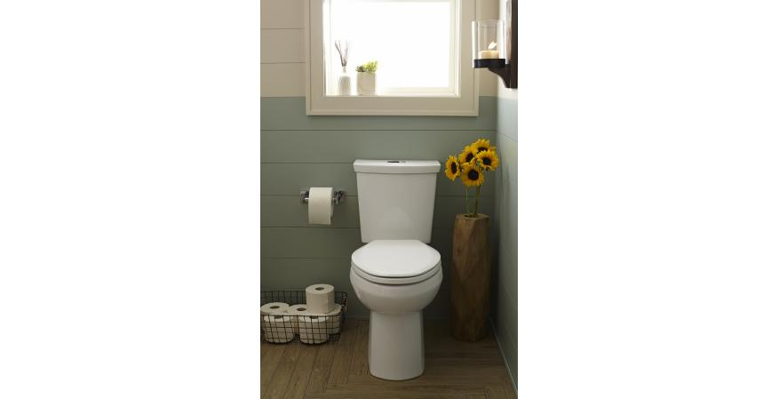 The H2Option ultra-high-efficiency toilet from American Standard carries an MaP Premium certification for its ability to flush 600 grams of solid waste with an average of just 1.1 gallons per flush. The WaterSense-certified dual-flush toilet features transitional styling and is available in elongated, round-front, or Right Height elongated styles