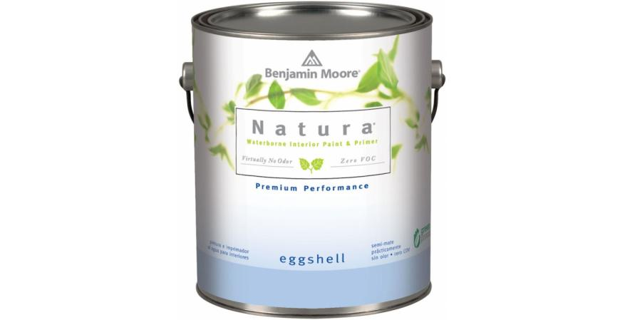 Benjamin Moore Natura no-VOC interior paint is certified Asthma and Allergy Friendly by the Asthma and Allergy Foundation of America. It carries Cradle to Cradle Silver certification. The paint is available in flat, eggshell, and semi-gloss