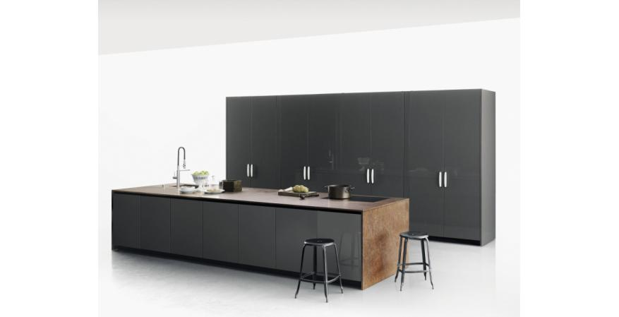Gray cabinets from Boffi, one of several quality cabinet brands
