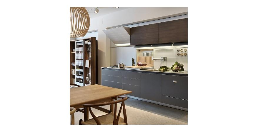 Gray cabinets from Bulthaup, one of several high end cabinet brands