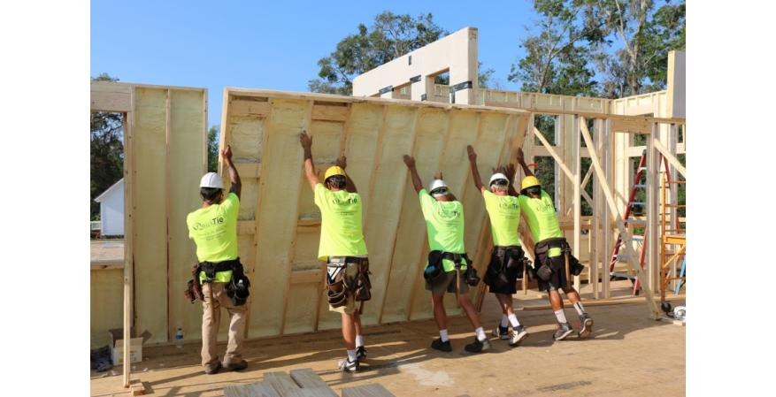 PUReWall is a new high-performance, insulated structural wall panel that can help build a net-zero home. Constructed at a panelization facility using conventional wood frames, the system features framing lumber, 1 to 2 inches of rigid polyiso board on the outside, and 1½ inches of structural closed-cell spray polyurethane foam on the inside.