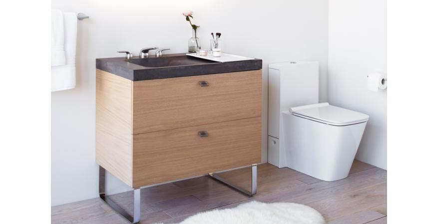 DXV Modulus vanity and one piece toilet