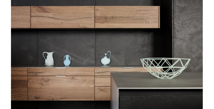 Wood cabinets from Eggersmann, one of several quality cabinet brands