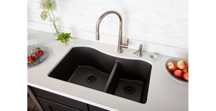 Elkay Manufacturing has created a Quartz Luxe collection within its Elkay Quartz brand and has added six new colors and 16 models. Black sink.