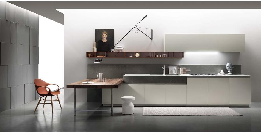 White cabinets from Ernestomeda, one of several quality cabinet brands