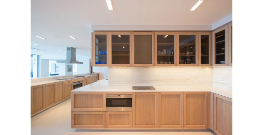 Tan cabinets from GD Cucine, one of several high-end cabinet brands