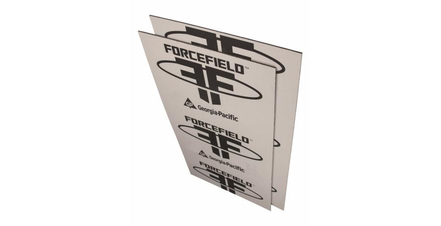 GEORGIA-PACIFIC ForceField consists of engineered wood panels laminated with an air and water barrier. Once the panels are applied, the joints are taped with ForceField seam tape, eliminating the need for housewrap. Panels measure 7⁄16-inch thick. BUILDGP.COM
