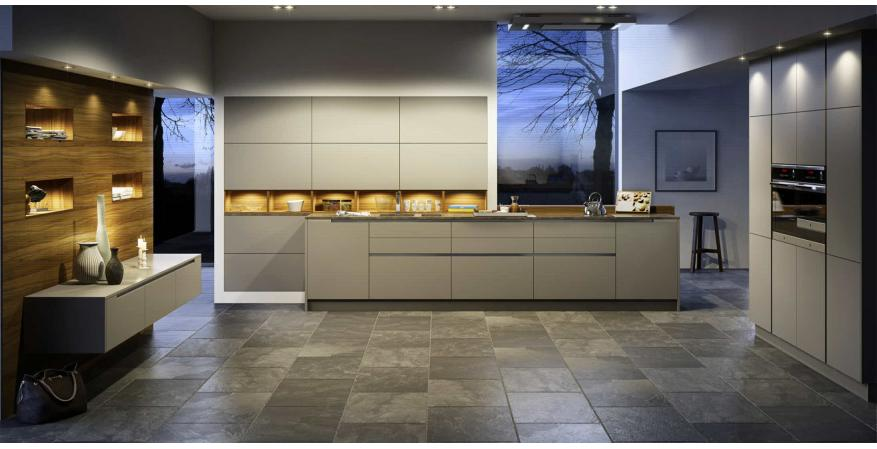 Gray cabinets from Goldreif, one of several quality cabinet brands