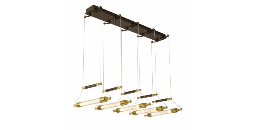 Otto, a collection of steampunk-inspired incandescent pendant fixtures that marry black steel hardware with brass accents and glass. Available in horizontal and vertical configurations, the four pendant designs include a five-light model as well as a single glass sphere with a shrouded light source; a bow-shaped sconce rounds out the collection