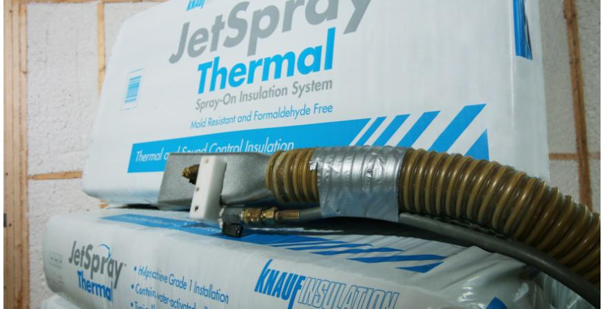 Knauf Insulation says its new JetSpray thermal insulation system is a spray-on glass mineral wool product that features stabilized fiber technology so it can be applied in a net-less, side-wall application.