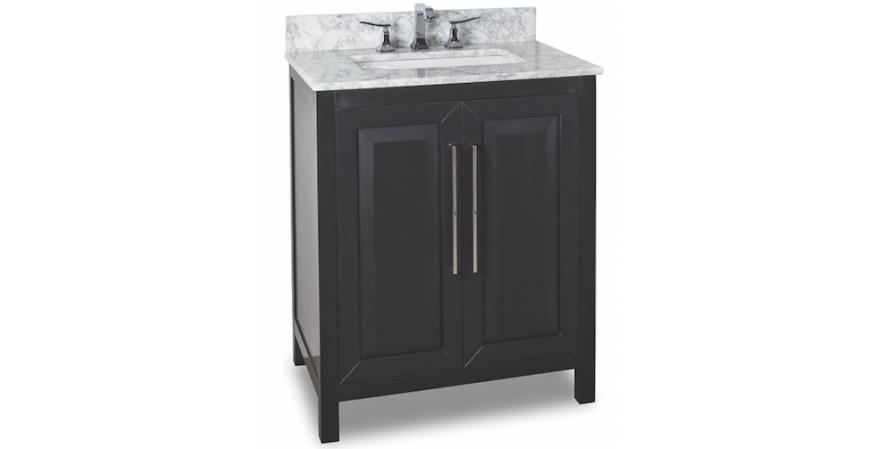 Jeffrey-Alexander-Cade-Contempo 30 inch vanity for small bathroom in black