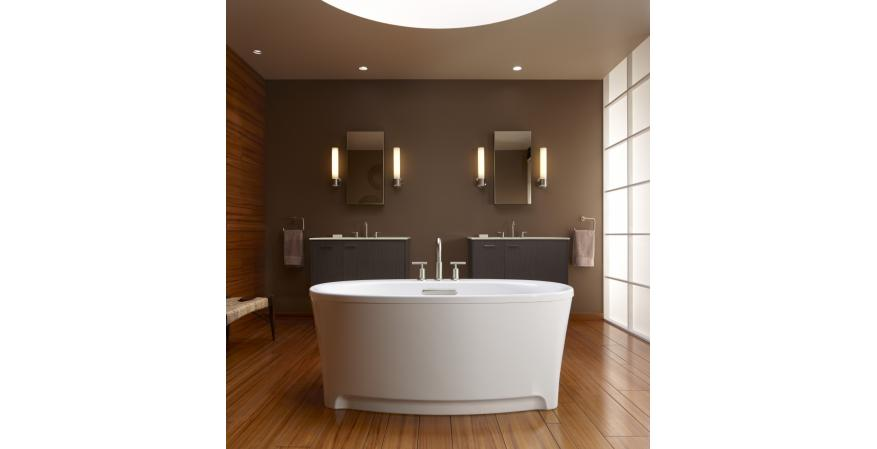 Kohler's Underscore oval bath allows users to personalize relaxation with a variety of optional features, such as Bluetooth speakers for playing music and providing sound vibration; air massage; whirlpool massage; a heated surface in the neck, back, and shoulder areas; and chromatherapy.
