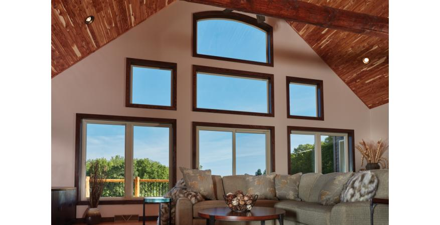Forgent Series windows are made of Glastra, a hybrid fiberglass and UV-stable polymer. According to the company, multi-chambered Glastra extrusions in an advanced ladder design add strength and resiliency while promoting energy efficiency. Casement, awning, double-hung, and sliders are available with Glastra or wood interiors.