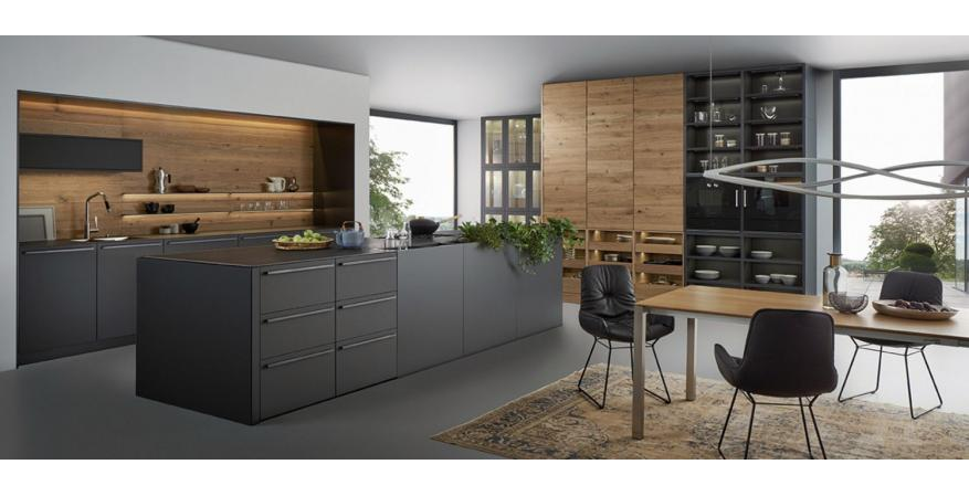Dark-colored cabinets from Leicht Cabinets, one of several high quality cabinet brands