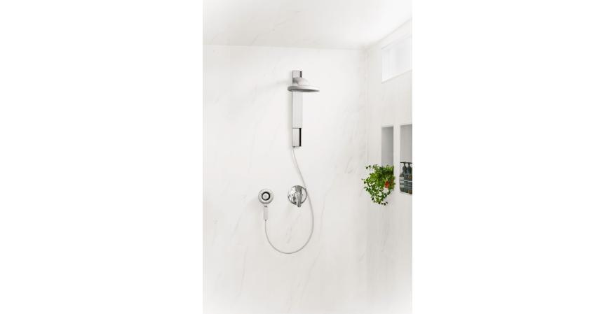 Nebia Spa Shower in white marble shower