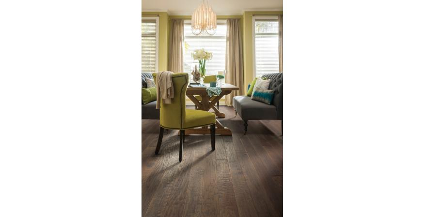 Shaw's Epic Plus engineered hardwood flooring meets Greenguard indoor air quality certification and carries Cradle to Cradle Silver certification. The flooring's Stabilitek core, consisting of interlocking wood fibers, allow the hardwoods to expand and contract.