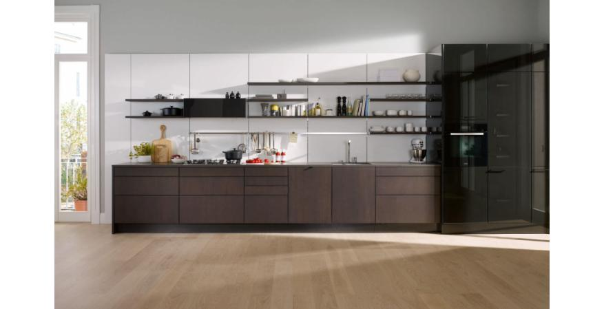 Dark-brown cabinets from SieMatic, one of several high-end cabinet brands