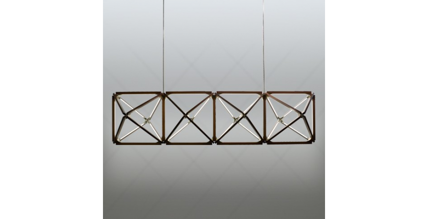 Truss Chandelier, featuring four octagonal closed shapes made with 2-foot Stickbulbs.
