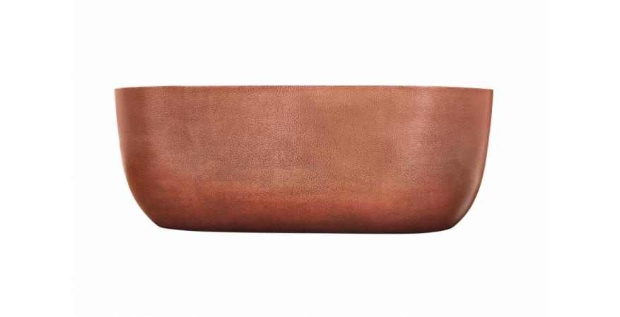 Caledonia is a hand-hammered copper soaking tub featuring double-walled construction that helps maintain water temperature. It has a lifetime finish to prevent the natural patina that typically occurs with copper.