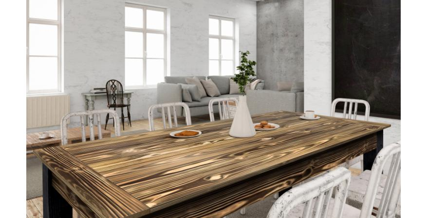 UFP-Edge Charred wood dining room table
