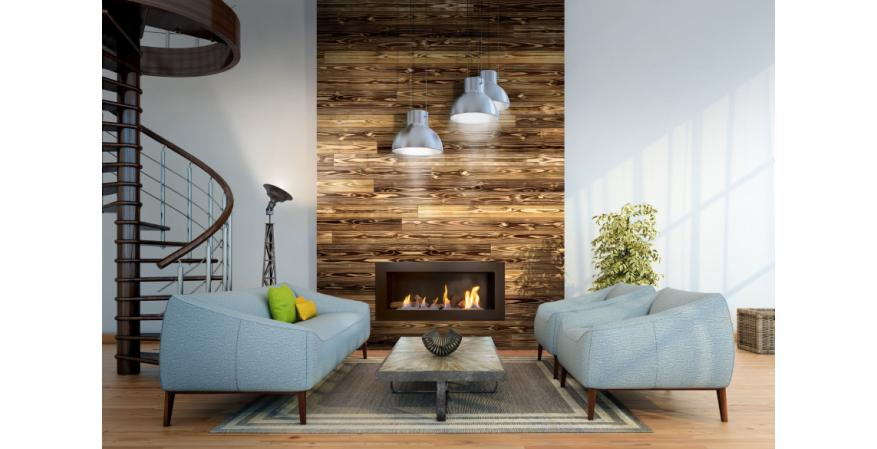 Universal Forest Products UFP-Edge Charred wood shiplap around fireplace