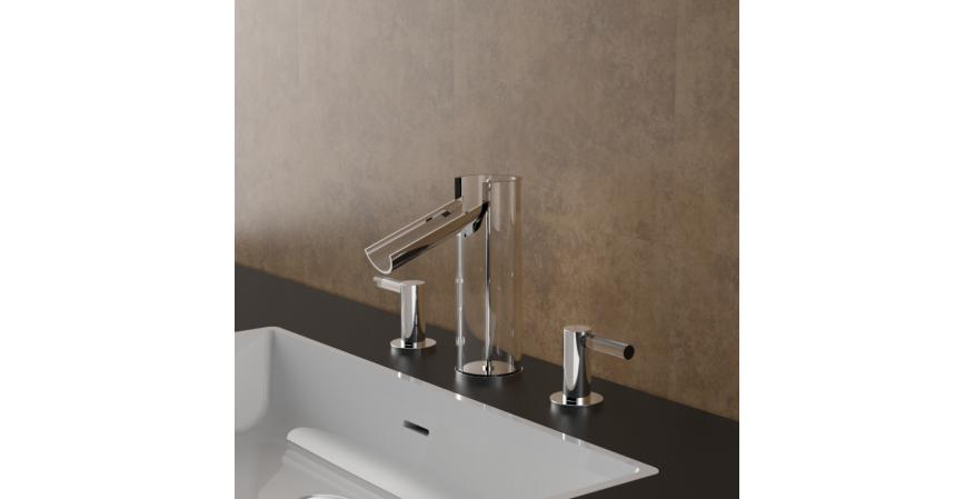 Italian faucet maker Fortis has introduced to the U.S. market an audacious lavatory faucet line that makes the water visible to the user.