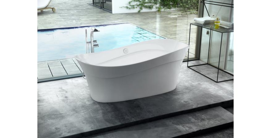 Pescadero from Victoria + Albert expresses its nautical roots with an undulant shape and rim design. Made of volcanic limestone and resin, the freestanding tub has a gloss white interior and an exterior that is available in six colors. It measures 68 5/8 inches by 29 5/8 inches