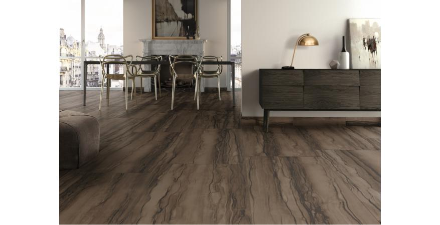 Next-generation Italian glazing technology allows Sequoia porcelain tiles to emulate the look and tactile striations of Sequoia stone. The brushed and honed tiles come in almond, black, grey, and puro hues for floors or walls.