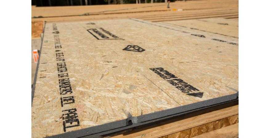 Weyerhaeuser's newest and most robust OSB subflooring panel, Edge Diamond is engineered for unmatched durability to resist inclement weather. It features a fully sanded face, includes Down Pore self-draining technology, and carries a 500-day no-sand guarantee.