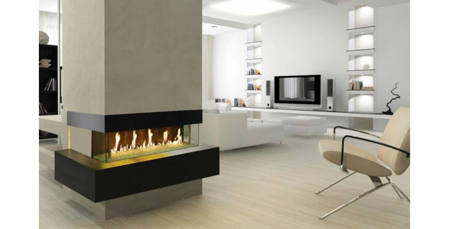 DaVinci Custom Fireplaces  This non-heating custom gas fireplace still strikes a dramatic pose in a home.