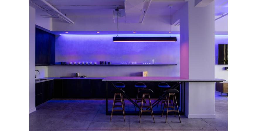 Ketra LED smart lighting in kitchen, purple