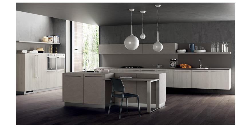Light-colored cabinets from Scavolini, one of several quality cabinet brands