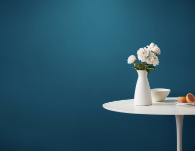 Clare paint Sublime color blue interior wall paint beauty shot with grapefruits and plant
